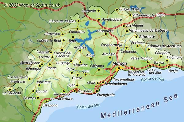 Costa Del Sol Map Costa del Sol Map   Spain Away Costa Del Sol Map